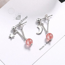 KOFSAC Charm 925 Sterling Silver Earrings For Women Asymmetry Star Moon Crystal Pink Round Earring Girl Jewelry Engagement Gifts