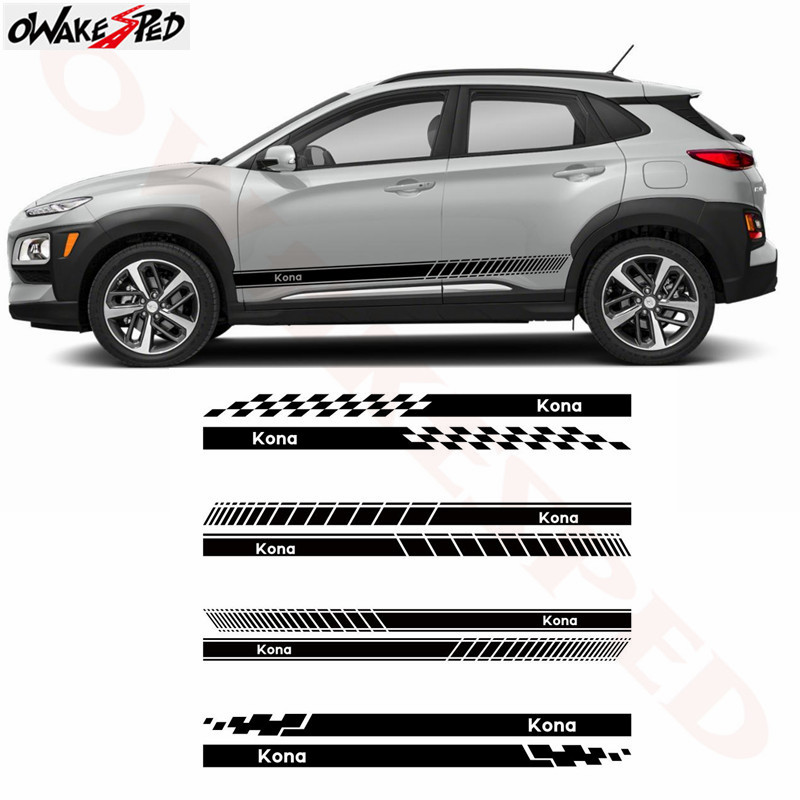 Car Side Skirt Stickers Racing Lattices Stripes Auto Body Door Accessories Sticker Vinyl Decals For Hyundai KONA 2017-2018