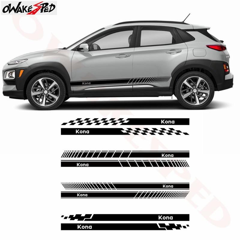 Car Side Skirt Stickers Racing Lattices Stripes Auto Body Door Accessories Sticker Vinyl Decals For Hyundai KONA 2017-2018