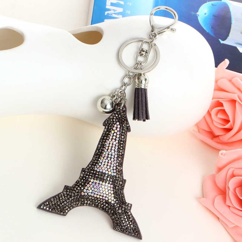Милый серый черный брелок «Эйфелева башня», женская сумка, Очаровательная кожаная сумочка на цепочке, чехол для брелка, ювелирный подарок