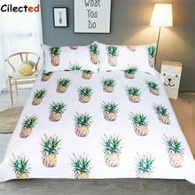 Cilected Cute Pineapple Bedding Sets Cotton 3 Pieces Tropical Fruit Pattern White Duvet Cover Set Queen Size Dropshipping