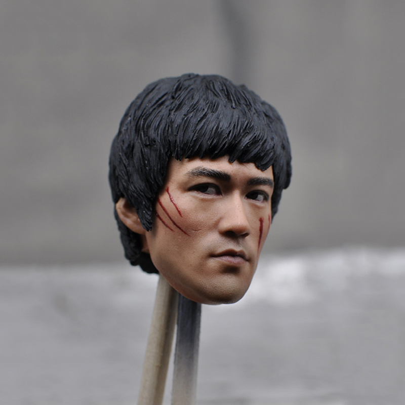 1/6 Scale Bruce Lee Head Sculpt Asian Kung fu Star Head for 12 inches Male Body figure Collections Freeshipping popular 16 31 1 6 scale male head sculpt model toys for 12 male action figure body accessory collections freeshipping