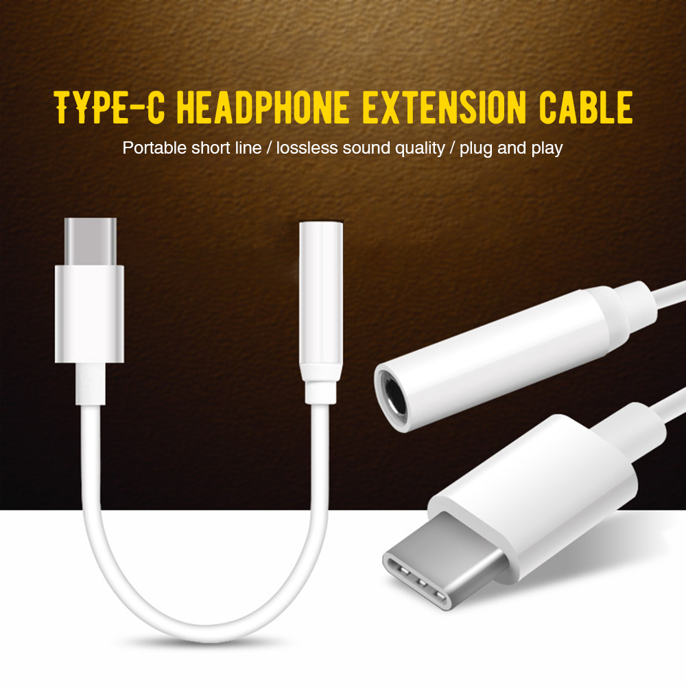 Type C To 3.5mm Audio Cable USB-C Earphone Headset Jack Adapter For Huawei P20 Mate 10 Pro AUX Audio Cable For Xiaomi Mi 8 6X 6