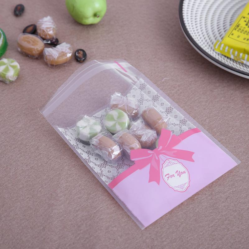 100pcs Beautiful Candy Bags Self Adhesive Seal Plastic Cookies Candy Biscuit Packaging Gift Bags Christmas Wedding Gift Bags