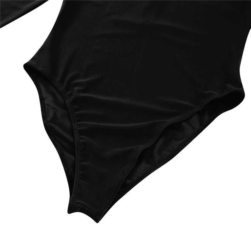Freebily/пикантные однотонные облегающие боди с высоким воротником для женщин; Новинка 2019 года; сезон осень-зима; теплый облегающий прозрачный комбинезон с длинными рукавами