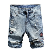 2019 summer new mens denim shorts slim five points fashion hole embroidery washed cotton