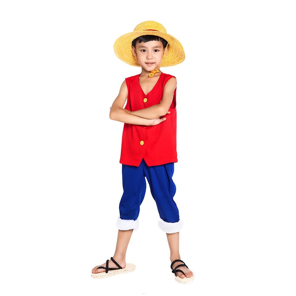 Us 26 99 10 Off Brdwn One Piece Children S Monkey D Luffy Cosplay Costume 1st Generation Suit Kid S Wear Vest Pants Hat On Aliexpress