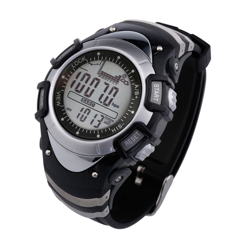 SUNROAD FX704 Thermometer Barometer Altimeter Watch Forecast Digital Fishing Watches Fishing Time Remind Waterproof Mens outdoor multifunction digital fishing barometer waterproof fishing watch barometer altimeter thermometer sports watch 6 colors