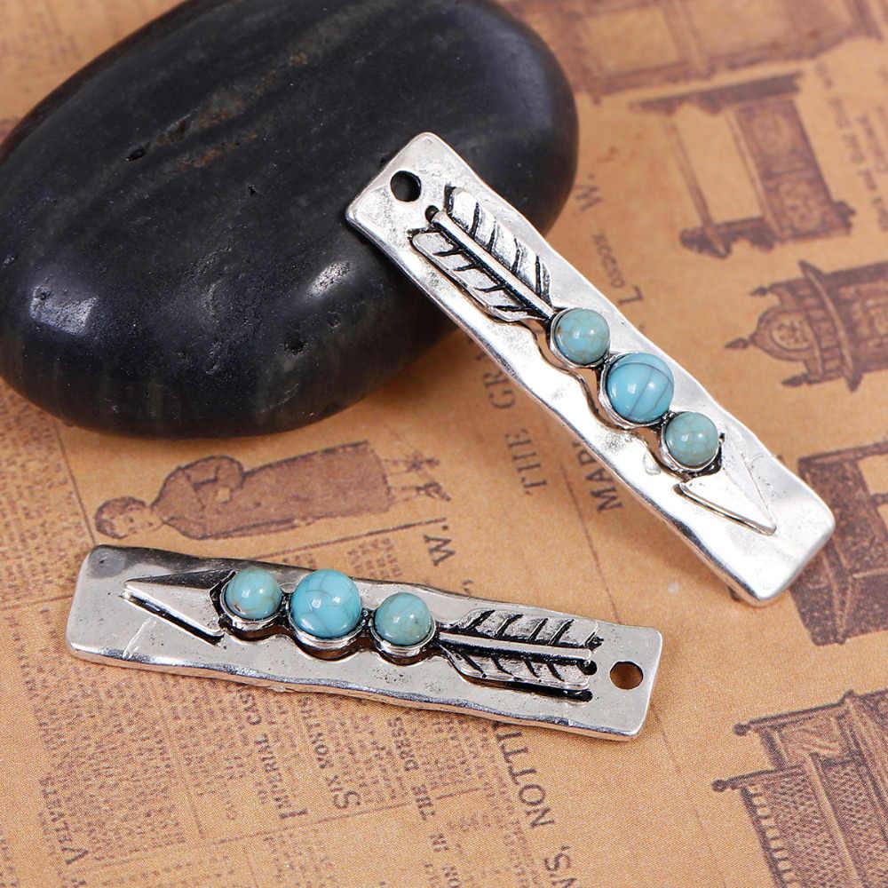 DoreenBeads 亜鉛系合金自由奔放に生きるシックなペンダント長方形シルバー色ブルー矢じり模造宝石石、 3 個