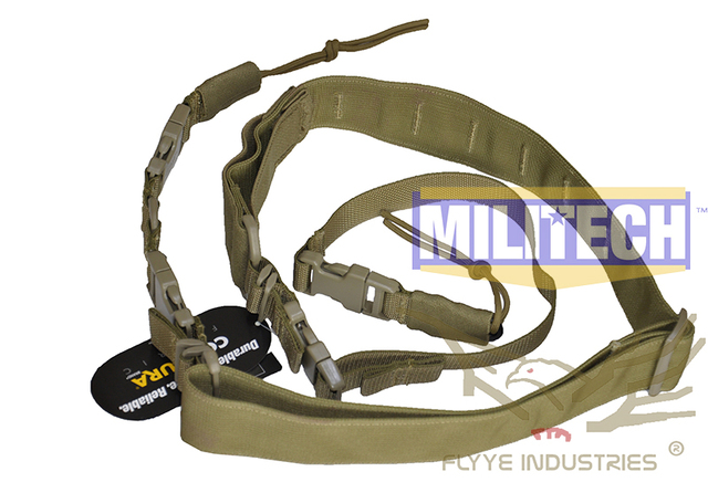 Especificação militar Coyote Brown CB Tactical Two Point One Point Híbrido Rifle Sling FLYYE FY-SL-S007 Multi Pontos Funda Arma