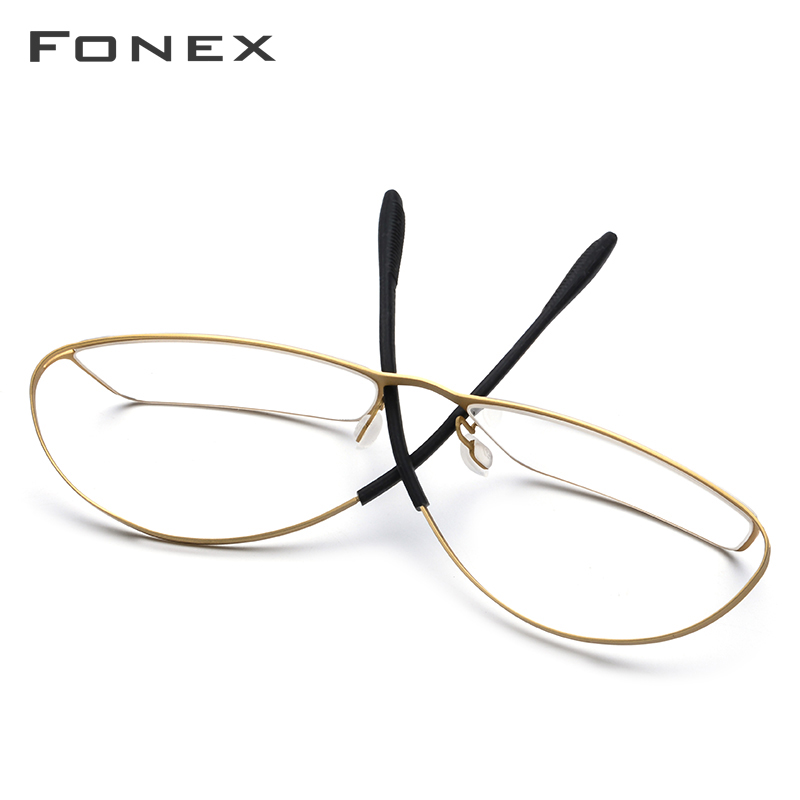 Image 4 - FONEX B Titanium Glasses Frame Men Semi Rimless Prescription Eyeglasses Ultralight Myopia Optical Frame Screwless Eyewear 874-in Men's Eyewear Frames from Apparel Accessories