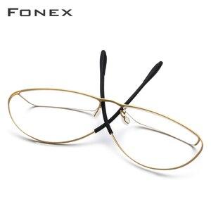 Image 2 - Fonex b titânio óculos quadro homem semi sem aro prescrição óculos ultraleve miopia óptica quadro screwless eyewear 874