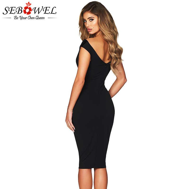 e24be9940094450 ... SEBOWEL сексуальное с открытыми плечами облегающее Вечерние Платье  женское элегантное черное Бордовое платье миди вечернее платье ...
