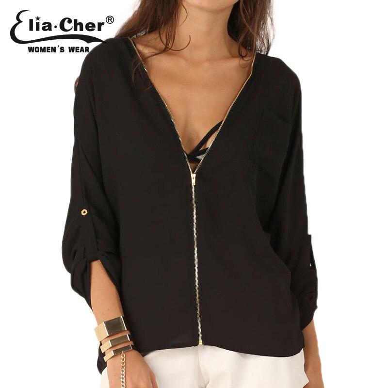 9578874726d7d Image Women Blouse 2015 V neck Chiffon Office Shirts Lady Tops Full Sleeve Women  Tops Eliacher