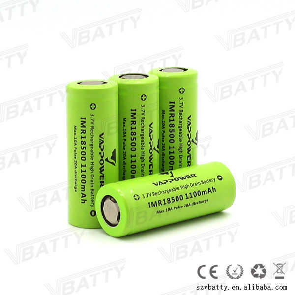 2018 New For Vappower IMR18500 batetry 1100mah High drain 10A 3.7V li-ion battery very top sale for e cig mod (2 pcs)