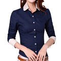 Fashion OL Cotton Shirts Plus Size S-3XL Patchwork Design Long Sleeve Style Career Lady Casual Blouse