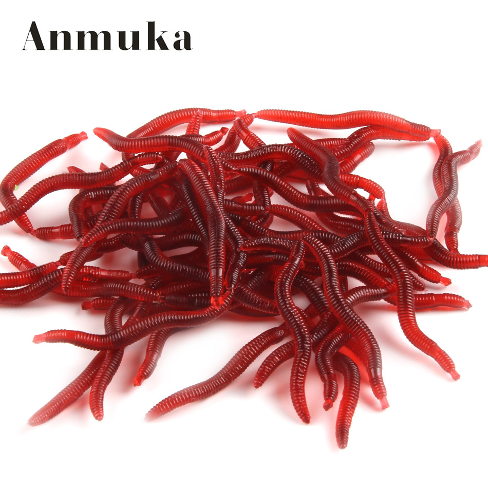 Anmuka 50pcs 3.8cm 0.2g Soft Lure Red Worms EarthWorm Fishing Baits Trout Fishing Lures fishing tackle fishing spoon 21032-50 30pcs set fishing lure kit hard spoon metal frog minnow jig head fishing artificial baits tackle accessories