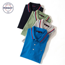 PERIGOT PGM170801 2017 New Summer Men's Business Casual 100% Cotton POLO Shirt Male Brand Contrast Color Top S-L