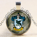 Hot Sale Classic Harry Potter Yellow Badger Ravenclaw Badge Magic Glass Time Gems Necklace Pendant Friend Christmas gifts NN025