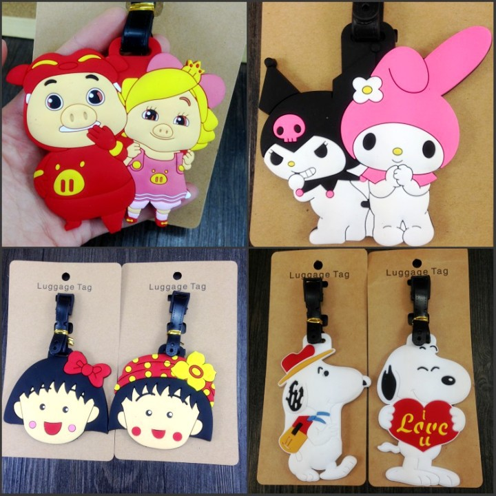 Label Luggage-Tags Suitcase Id One-Piece Cartoon Address-Holder Travel-Accessories Silica-Gel