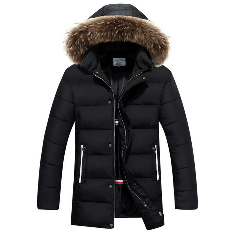 New Winter Fur Collar Jacket Men Thick Long Warm Parka Hooded Coat Overcoat Male Cotton Jackets Outwear Parkas Hombre Invierno