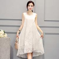 2019 spring summer women plus size dress korean black white casual sweet vest sleeveless loose dress female 5xl a1080