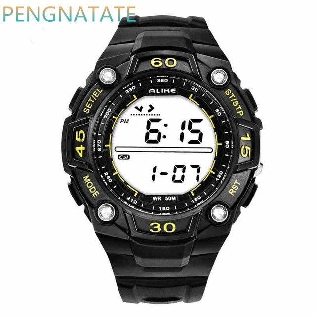 Так СВЕТОДИОДНЫЙ Дисплей Спортивные Часы Мужчины И Женщины Водонепроницаемый Старинные Браслеты relogio masculino студент Цифровые Часы PENGNATATE