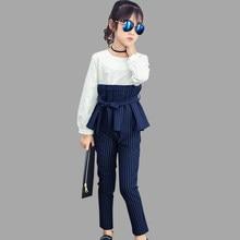 dd21d9711 La ropa de los niños primavera y otoño vestido + vestido de niñas conjuntos de  ropa a rayas adolescente Ropa para Niñas 8 10 12 .