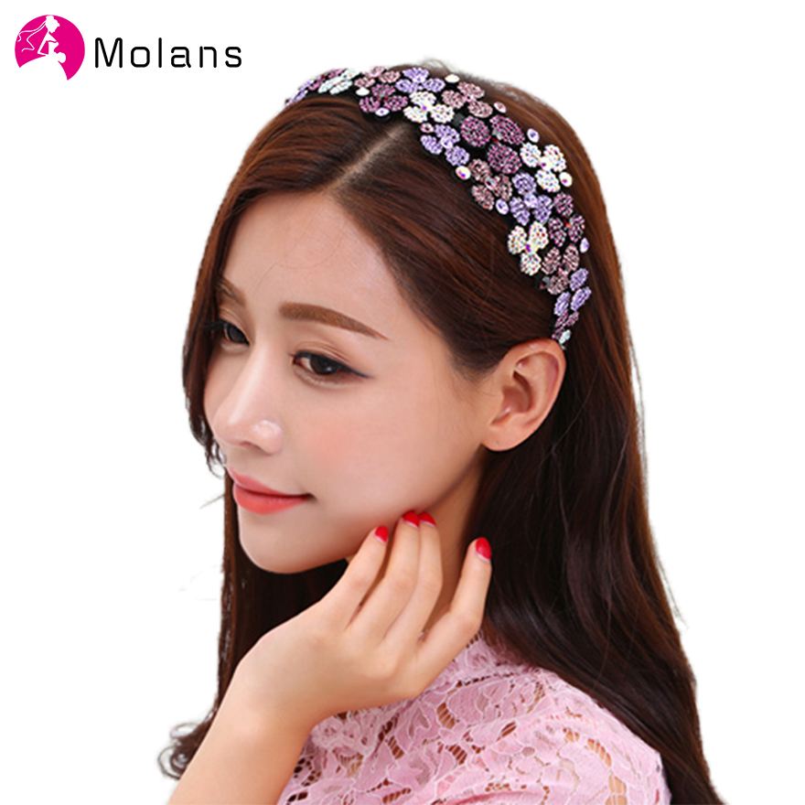 Molans Drills Flower Pattern Hairbands Solid Rhinestone Toothed Plastic Headband Photography Head Bands For Women Hair Ornaments