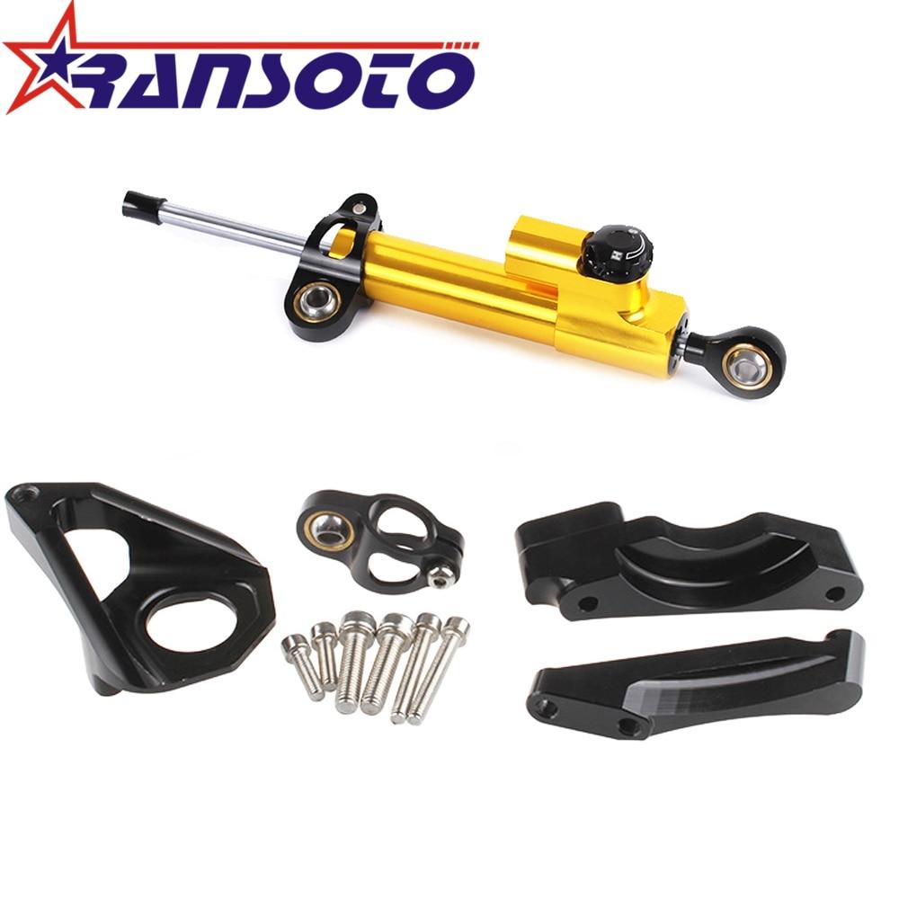 RANSOTO Motorcycle Steering Damper Stabilizerlinear Linear Stabilizer Bracket kit For SUZUKI GSXR600 GSXR750 2004 2005