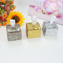 AVEBIEN 50pcs Fashion Glitter Candy Box Baby Shower Party Favor Gifts Wedding Event Chocolate Birthday Decorations Kid