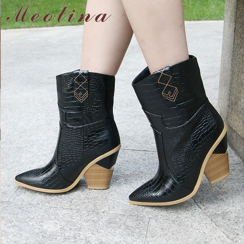 Meotina Brand Women Boots Winter Mid calf Boots Strange Style High Heel Western Boots Pointed Toe