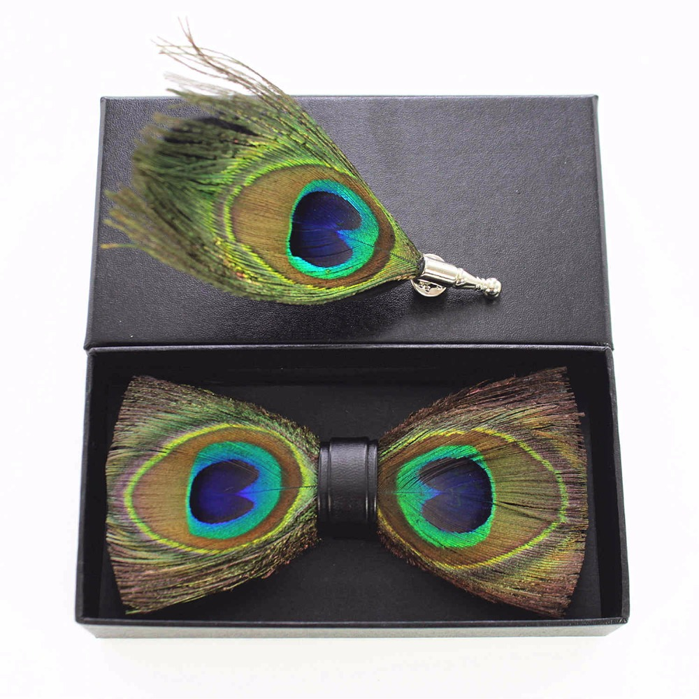 JEMYGINS Original Peacock Feathers PU Handmade High End Men&Women Bowtie & Broosh Wedding Party Host Groom