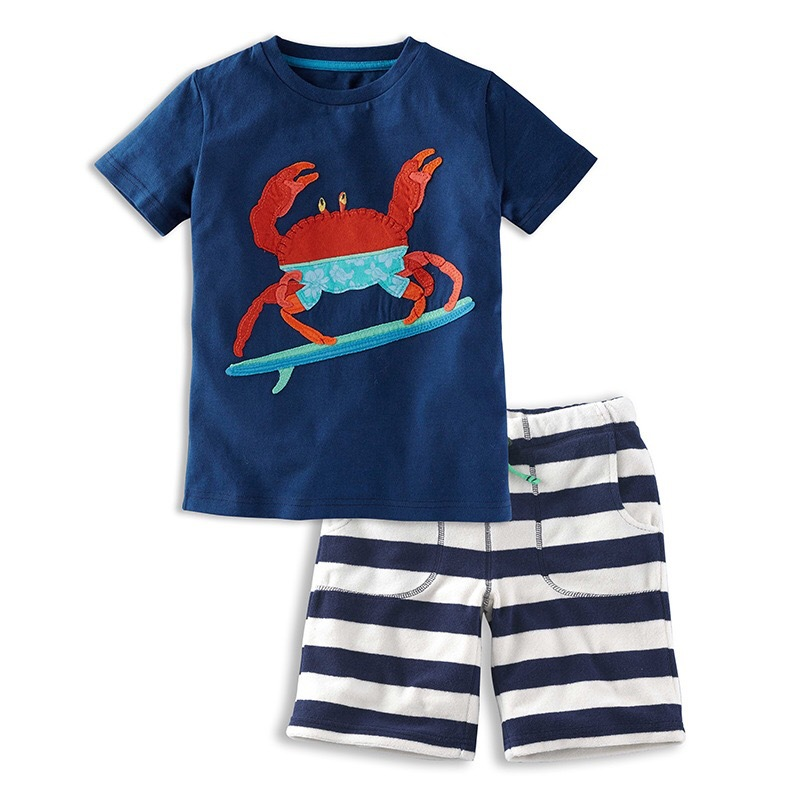 Baby Boys Summer Cotton Crab Pattern Short-Sleeved Shirt + Striped Lace Shorts  2PCS Set Kids Simple Suit Clothes Children Suit