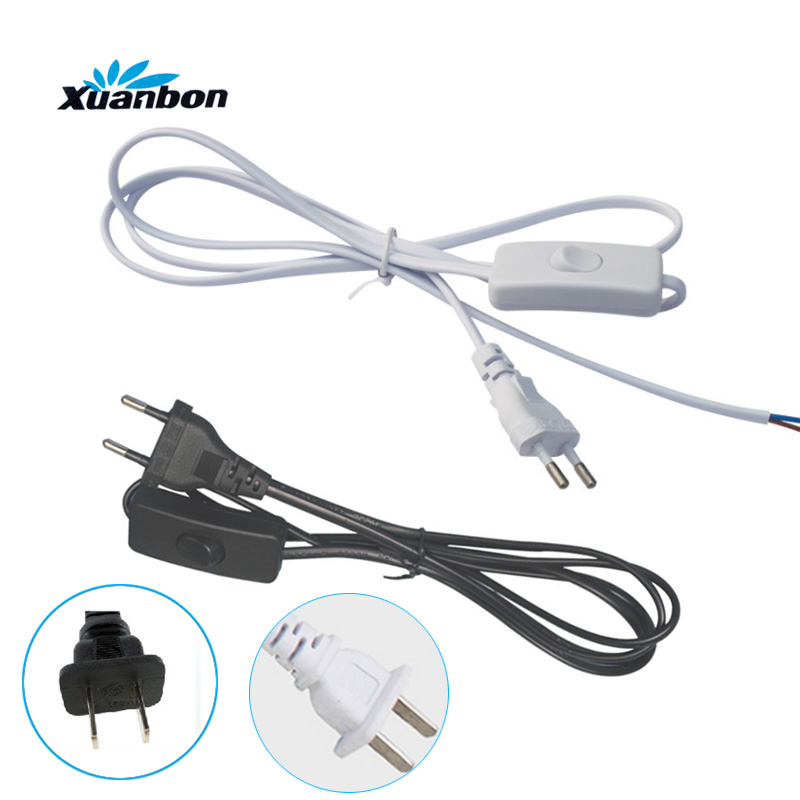 1.8M EU US Plug Switch Line Cable On Off Power Cord For LED Lamp With Button Switch Light Switching White Black Wire Extension