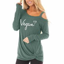 цена на 2019 Fashion Long Sleeve Oblique Shoulder T-Shirt T-Shirt For Women Vegan Letters Print Plus Size Women Tumblr Size Streetwear