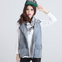 Classic Vintage Womens Jeans Vest With Hoods Tops Sleeveless Jeans Jacket Denim Tops Dark Light Blue