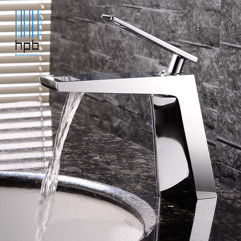 HPB Waterfall Copper Brass Basin Faucet Bathroom Sink Tap Mixer Deck Mounted Hot and Cold Water Single Handle Single Hole HP3045 hpb brass morden kitchen faucet mixer tap bathroom sink faucet deck mounted hot and cold faucet torneira de cozinha hp4008