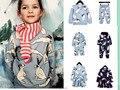 INS HOT PRIMAVERA 2017 Crianças Coelho Panda Olhos Camisolas camiseta para CONJUNTOS de ROUPAS de Bebê Das Meninas Dos Meninos Tops CRIANÇAS vestidos para meninas