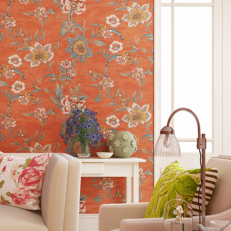 American Style Orange Large Flower Wall Paper Vintage Retro Floral Bedroom Decor Wallpaper Murals Non Woven