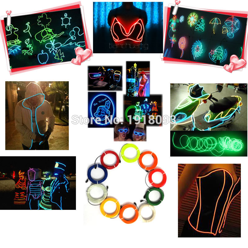 2017 Hot Craft Decorative 3.2mm EL Wire Rope Tubo flessibile LED Strip Neon Light 10 Scelta di colore Non includere controller EL