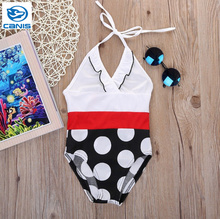 2016 Girls Baby Children Polka Dot Swimsuit Bikini Swimwear Kids Swimming  One-pieces Cute Costume Swimsuit New Girl