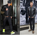 David Beckham Real Leather Jacket Hot Sale Fall Winter Fashion Mens Black Color Genuine Leather Jacket