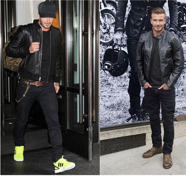 David Beckham Real Leather Jacket Hot Sale Fall Winter Fashion Mens Black Color Genuine Leather Jacket