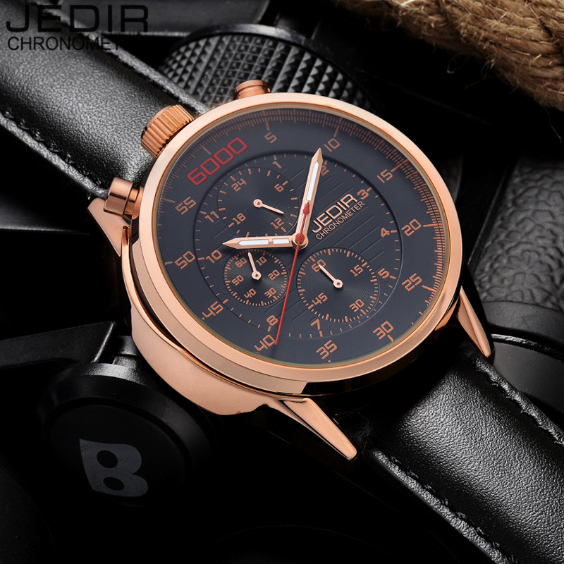 Relogio Masculino Luxury JEDIR Military Sports Watches Men Chronograph 24 Hours Luminous  Analog Quartz Watch Leather Wristwatch new guanqin luxury fashion casual quartz watch men sports watches luminous analog leather strap wristwatch relogio masculino
