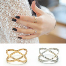 2019 New Arrivals Hot Fashion women's ring Gold Color And Silver Plated X Cross Stereo Surround Hollow Ring For Women Jewelry(China)