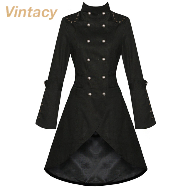 Bottons Vintacy mezclas de algodón larga de las mujeres abrigo negro otoño de manga larga mujeres abrigos estilo vintage patchwork mujeres abrigos