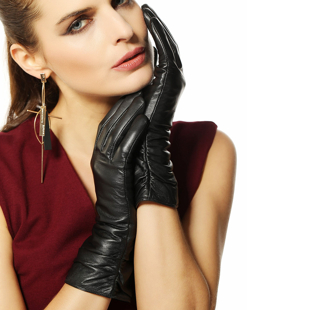 Direct Selling Gloves For Women Middle-long Style Genuine Leather Glove Female 2017 Fashion Goatskin Winter Driving Sale L010nc