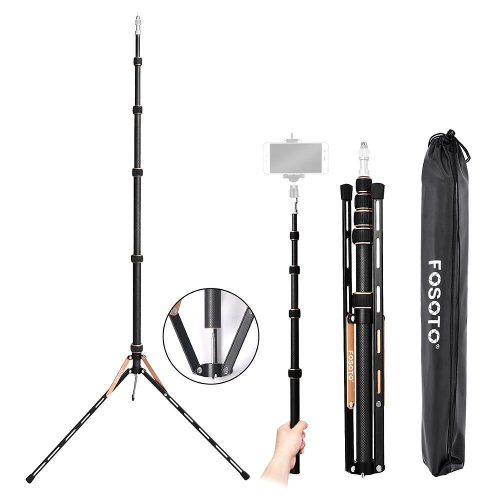 Fusitu FT-220 De Fibra De Carbono Cabeça Estande Luz Softbox Para Estúdio de Fotografia Levou Iluminação Fotográfica Tripé Guarda-chuva de Flash Refletor