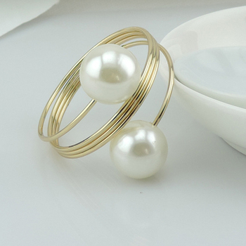 pearl napkin rings 50 pcs a lot gold and silver Novelty and luxury Weeding Party Banquet Table Decoration
